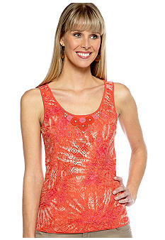 Ruby Rd Eye Candy Sleeveless Tie Die Lace Overlay Tank