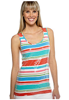 Ruby Rd Eye Candy Sleeveless Strip Sequins Tank