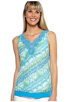 Ruby Rd Eye Candy Sleeveless Crochet Embellished V-Neck Top