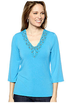 Ruby Rd Eye Candy Crochet Embellished V-Neck