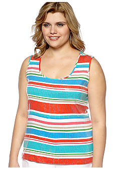 Ruby Rd Plus Size Eye Candy Sleeveless Stripe Sequins Tank