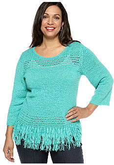 Ruby Rd Plus Size Eye Candy Boat Neck Tape Yarn Pullover