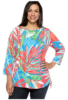 Ruby Rd Plus Size Eye Candy Printed Top With Side Rouch
