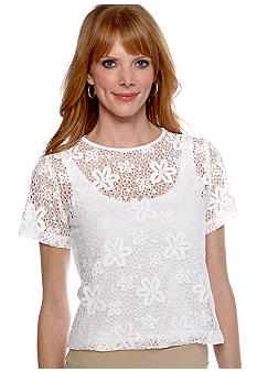 Ruby Rd Calypso Floral Dot Lace Top