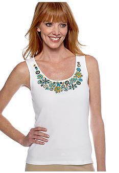 Ruby Rd Calypso Embellished Rib Sleeveless Top