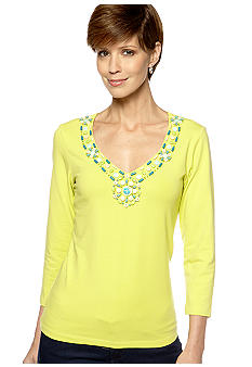 Ruby Rd Calypso Embellished Three Quarter Sleeve Top