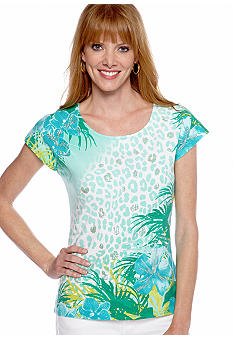 Ruby Rd Calypso Sequin Embellished Tropics Printed Top