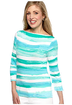 Ruby Rd Calypso Boat Neck Stripe Knit Top