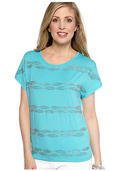 Ruby Rd Calypso Scoop Neck Bead Embellished Top