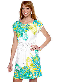 Ruby Rd Calypso Sequin Embellished Palms Dress