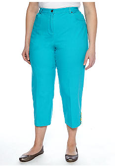 Ruby Rd Plus Size Calypso Embellished Side Elastic Canvas Capri