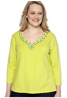 Ruby Rd Plus Size Calypso Embellished V-Neck Knit Top