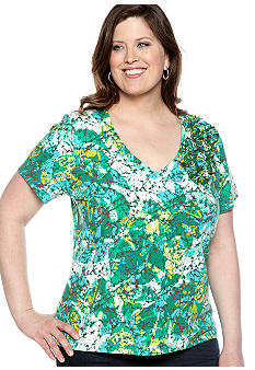 Ruby Rd Plus Size Calypso Short Sleeve Embellished Knit