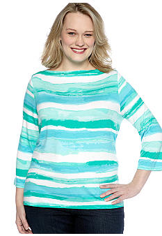 Ruby Rd Plus Size Calypso Boat Neck Stripe Knit Top