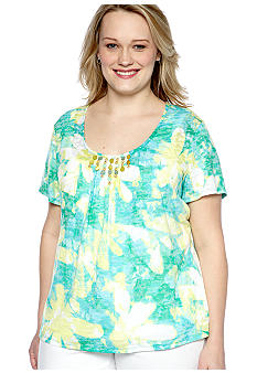 Ruby Rd Plus Size Calypso Floral Print Burnout Knit Top