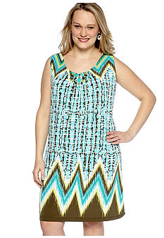 Ruby Rd Plus Size Calypso Embellished Sleeveless Dress