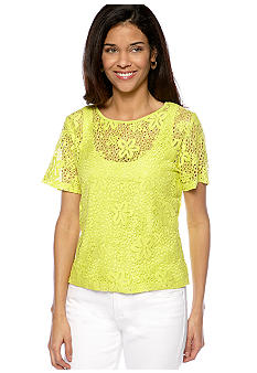 Ruby Rd Petite Calypso Flower Lace Top with Tank