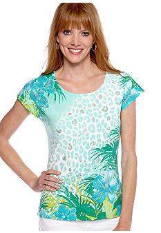 Ruby Rd Petite Calypso Sequin Embellished Tropics Printed Top
