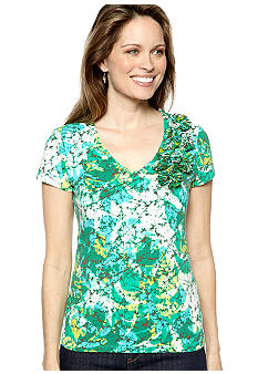 Ruby Rd Petite Calypso Short Sleeve Embellished Knit
