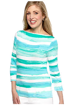 Ruby Rd Petite Calypso Boat Neck Stripe Knit Top