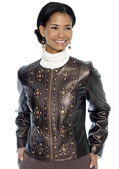 Ruby Rd Petite Spice Is Nice Embellished Faux Leather Jacket