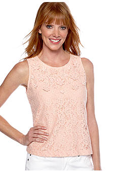 Ruby Rd Shell Party Sleeveless Embellished Floral Lace Top
