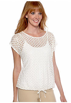 Ruby Rd Shell Party Crochet Blouson Top