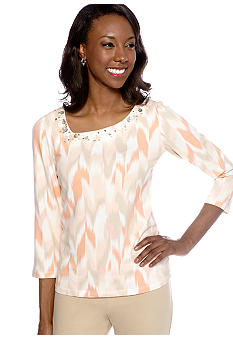 Ruby Rd Shell Party Embellished Asymmetrical Ikat Top