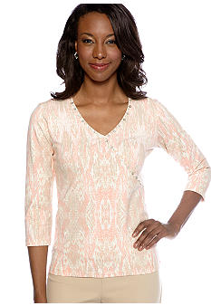Ruby Rd Shell Party Embellished Surplice Ikat Print Top