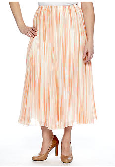 Ruby Rd Plus Size Shell Game Stripe Printed Yoryu Maxi Skirt