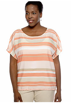 Ruby Rd Plus Size Blurred Stripe Blouse