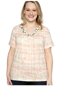 Ruby Rd Plus Size Shell Game Embellished Keyhole Printed Top