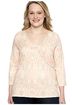 Ruby Rd Plus Size Shell Party Embellished Surplice Ikat Print Top