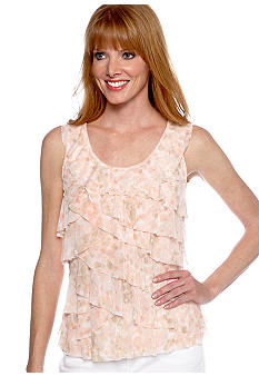 Ruby Rd Petite Shell Party Sleeveless Layered Ruffle Mesh Knit Top