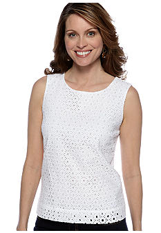 Ruby Rd Night and Day Eyelet Sleeveless Shell