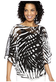 Ruby Rd Night And Day Bold Print Butterfly Top