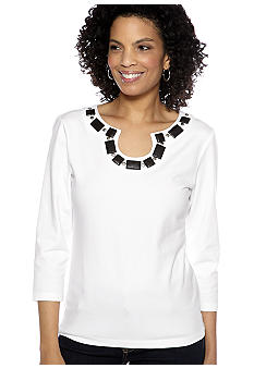 Ruby Rd Night and Day Embellished Open Key Hole Top