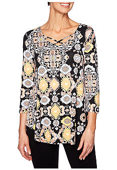 Ruby Rd Night And Day Embellished Boat Neck Top