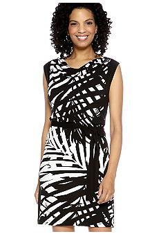 Ruby Rd Night And Day Sleeveless Cowl Neck Printed Dress