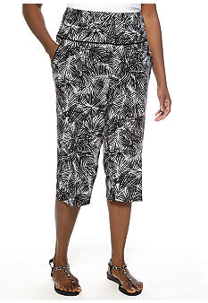 Ruby Rd Plus Size Night And Day Mini Palm Printed Skimmer