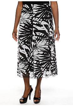 Ruby Rd Plus Size Night and Day Printed Maxi Skirt