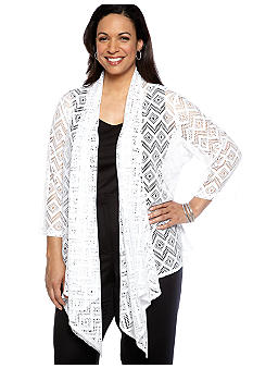 Ruby Rd Plus Size Night and Day Zig Zag Crochet Cardigan