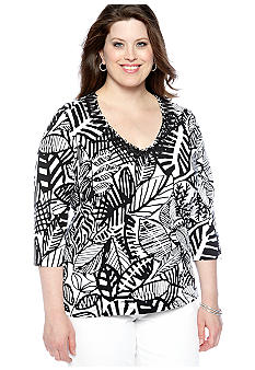 Ruby Rd Plus Size Night and Day Leaf Print Embellished V-Neck Top
