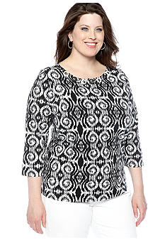 Ruby Rd Plus Size Night And Day Embellished Boat Neck Top