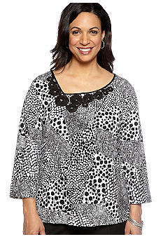 Ruby Rd Plus Size Night And Day Printed Asymmetrical Neckline Knit Top