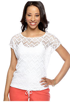 Ruby Rd Petite Night and Day Crochet Lace Top