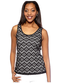 Ruby Rd Petite Night and Day Crochet Front Sleeveless Knit Tank