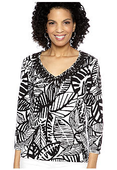Ruby Rd Petite Night and Day Embellished V-Neck Printed Top