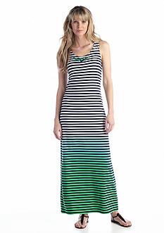 Ruby Rd Surf's Up Dip Dyed Hem Striped Maxi Dress