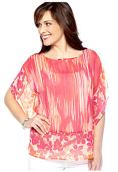 Ruby Rd High Voltage Scoop Neck Tropical Print Top